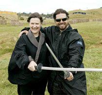 2003 Prime Minister Helen Clark crosses swords with The Last Samurai star, Tom Cruise, on the battle scene set on farmland near Oakura.