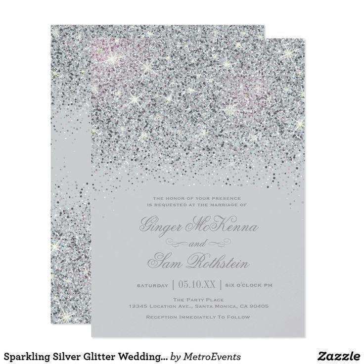 Sparkling Silver Glitter Wedding Invitations Zazzle Com Silver Glitter Wedding Invitations Silver Wedding Invitations Glitter Wedding