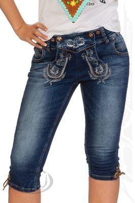 MarJo Leder & Tracht Trachten Damen Kniebundhose Jeans - STEFANIE - blau