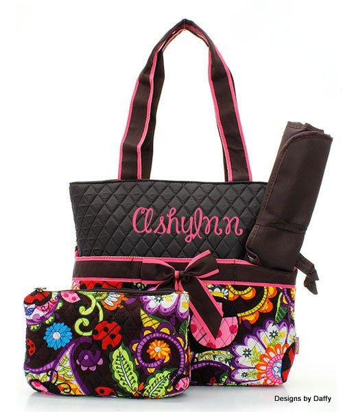 Brown Ladybug Pattern Quilted Personalized Diaper Bag on Etsy, $32.95