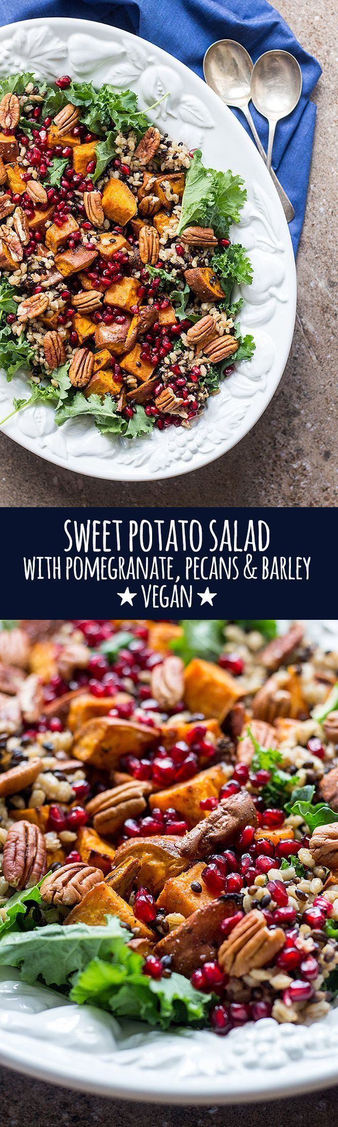 Perfect for the festive season, this hearty sweet potato salad with pomegranate, pecans and barley is served with a punchy herb dressing. via @Quite Good Food