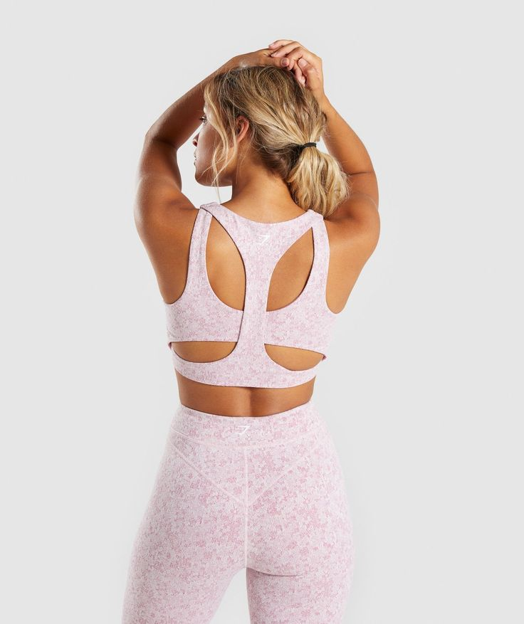 Gymshark Fleur Texture Sports Bra – Dusky Pink Marl