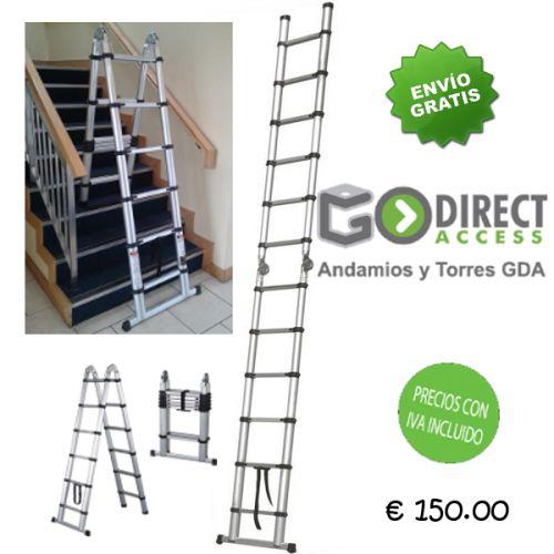 La Escalera Telescópica de Aluminio 3.8M – Doble Acceso tiene un precio competitivo haciendo de ella una excelente inversión gracias a su relación calidad-precio. Compre éste producto on lin...