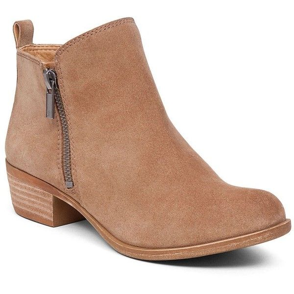 Lucky Brand Basel Flat Bootie ($120) ❤ liked on Polyvore featuring shoes, boots, ankle booties, ankle boots, zip ankle boots, short boots, flat ankle booties and flat leather boots