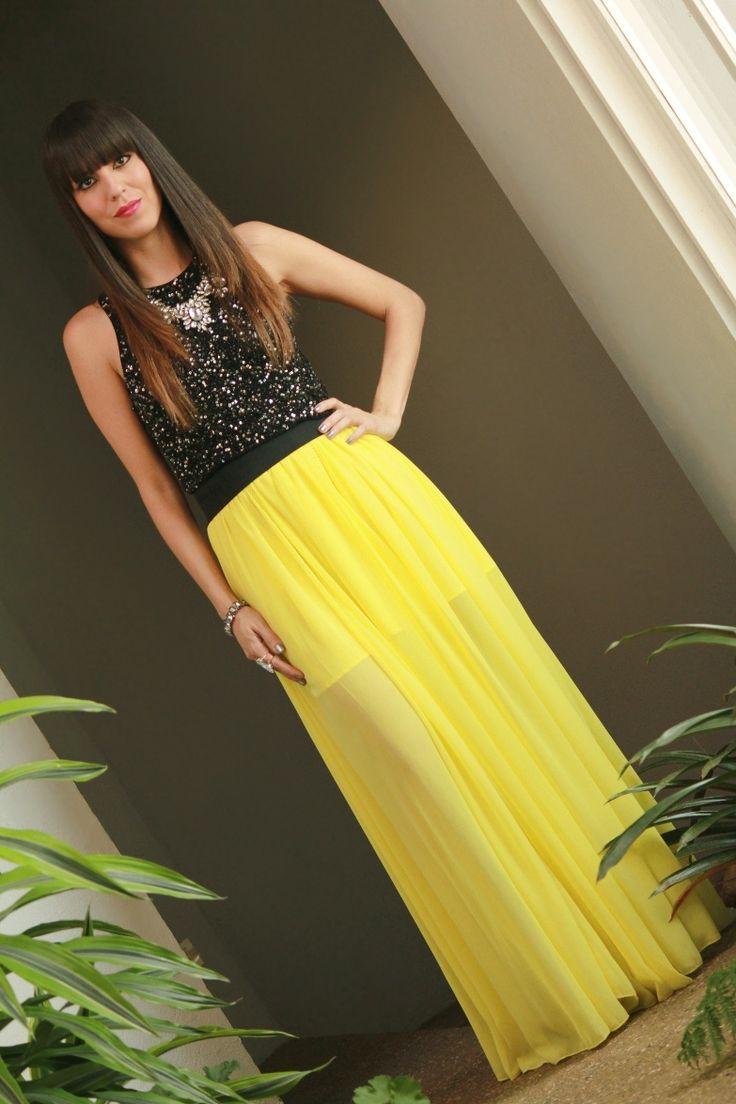 Vestido maxi vintage amarillo