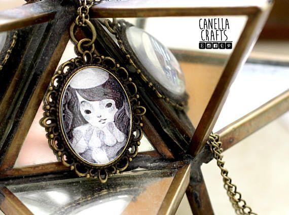 Fairy vintage cameo pendant illustration jewelry