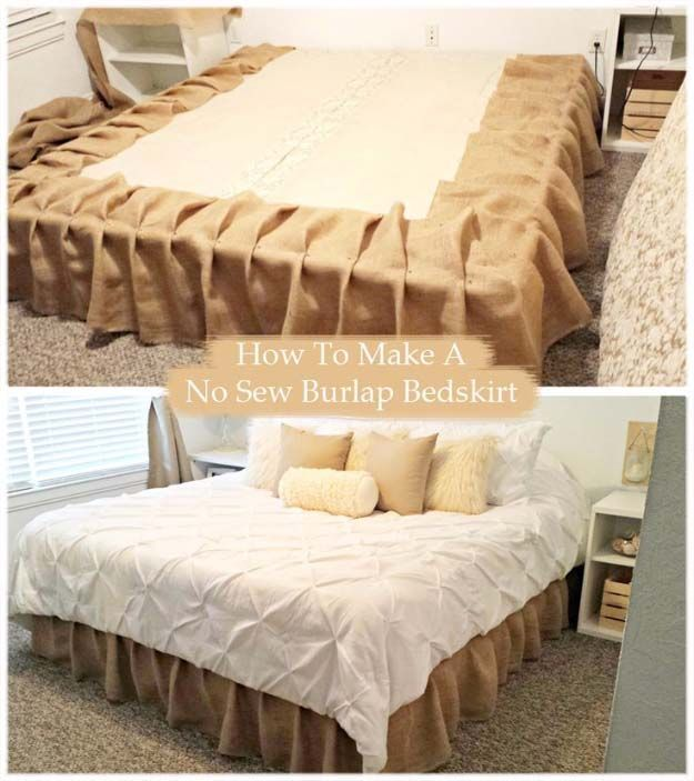 DIY Projects with Burlap and Creative Burlap Crafts for Home Decor, Gifts and More | No-Sew Burlap Bedskirt Tutorial | http://diyjoy.com/diy-projects-with-burlap