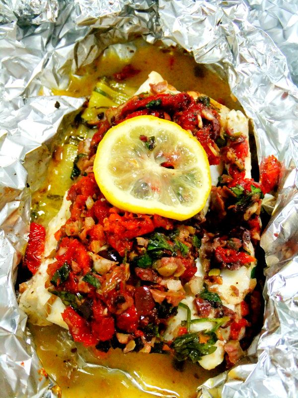 Olive Crusted Cod in Foil. You could use any white fish and I bet it would be delicious with tuna.