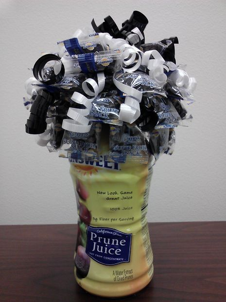 "How to make a prune/prune juice bouquet for an ""Over the Hill"" birthday party."