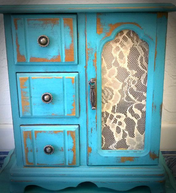 Vintage Inspired, Distressed Shabby Chic Jewelry Box in Robin Egg Blue With Lace Embelishment