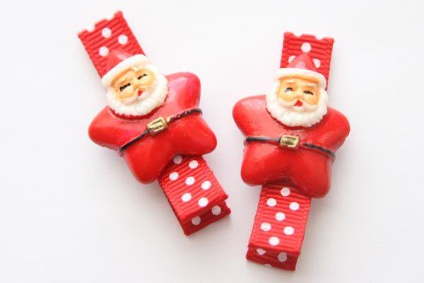 Christmas Resin Clips - Santa Star