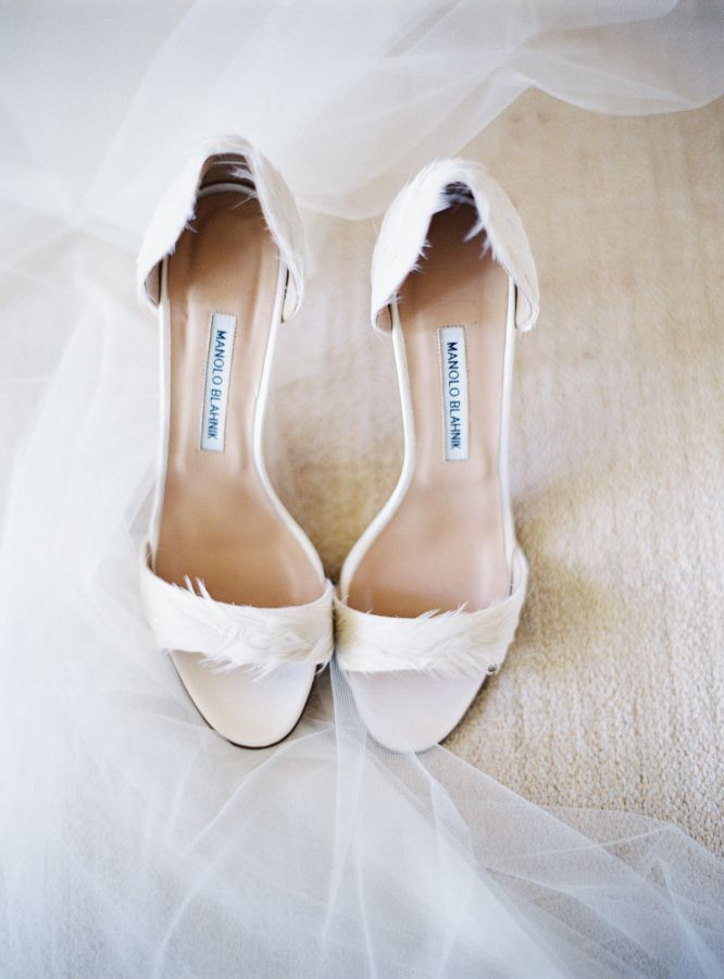 Feathery Manolo Blahnik wedding shoes: http://www.stylemepretty.com/2016/01/13/spring-napa-valley-wedding-with-floral-print-bridesmaids/ | Photography: Jessica Burke - http://jessicaburke.com/