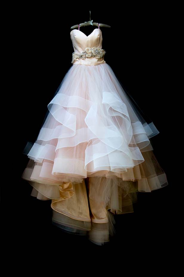 A wedding dress to make you go gaga. This gorgeous dress is full of gorgeous layering and subtle colors.