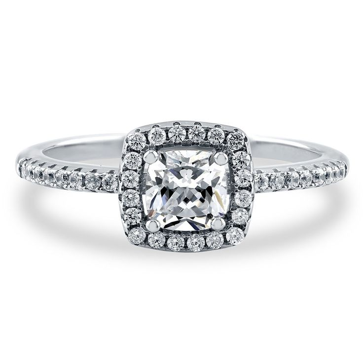 Sterling Silver Cushion Cubic Zirconia CZ Halo Ring 0.64 ct.tw