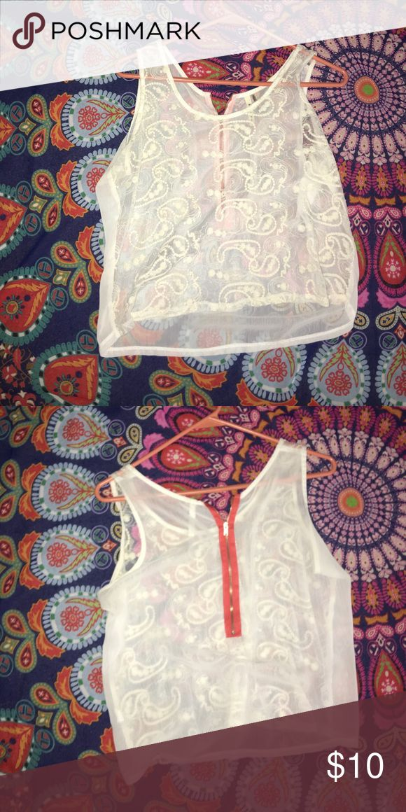 white mesh embroidered tank w orange zip up back orange zip w gold zipper B Jewel Tops Tank Tops