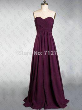 New Cheap Long Grape Purple Chiffon Bridesmaid Dresses Prom Dress under 100  $89
