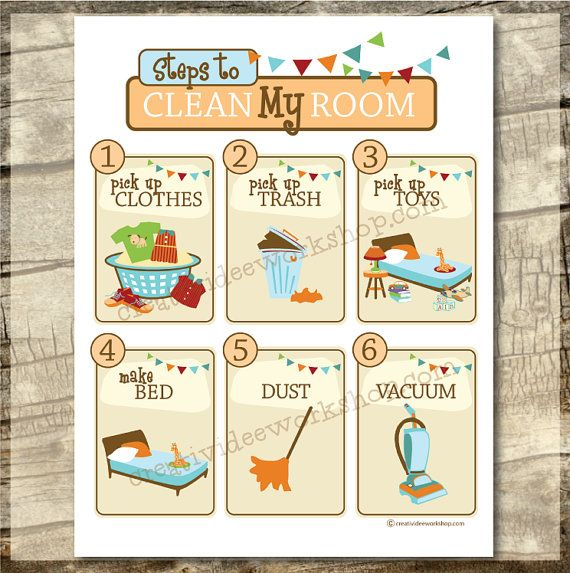 clean my room chart orange children 39 s cleaning chart printable chore chart clean room. Black Bedroom Furniture Sets. Home Design Ideas