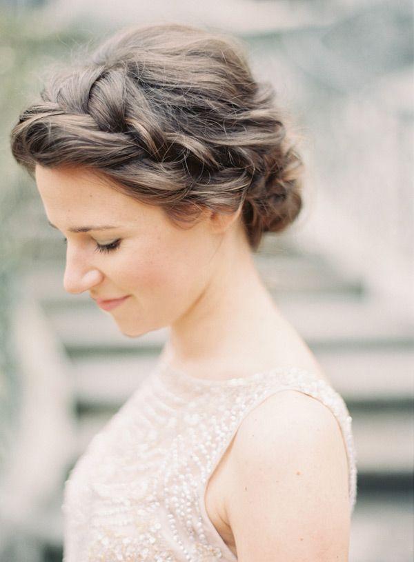 soft crown braid and chignon.