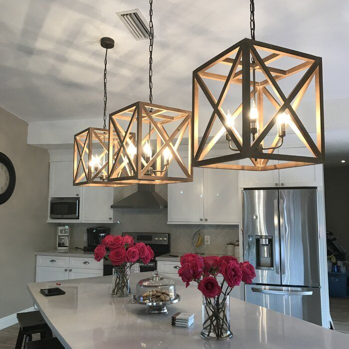 Sherman 4 Light Lantern Square Rectangle Pendant In 2020 Rustic Kitchen Lighting Kitchen Lighting Design Home Lighting