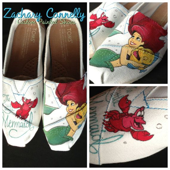 The Little Mermaid Disney Toms Shoes by ZacharyConnellyArt on Etsy, $145.00