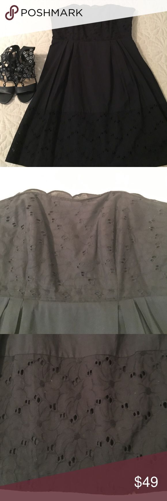 Strapless Laundry dress Strapless Laundry dress. Has black eyelet on the top and bottom . Fully lined. Side zipper. Tag states size 10 but fits more like size 8. Lying flat pit to pit measurement is about 18 inches. Length from bust to bottom is about 30.5 inches.  100% cotton. Excellent condition. Final price. Laundry by Shelli Segal Dresses