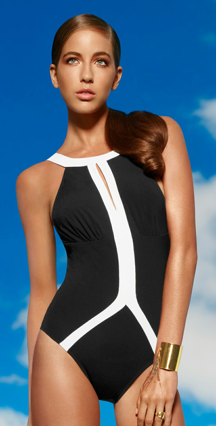 jets 2014 classique high neck one piece swimsuit j1768 blk wht southbeachswimsuits must have. Black Bedroom Furniture Sets. Home Design Ideas