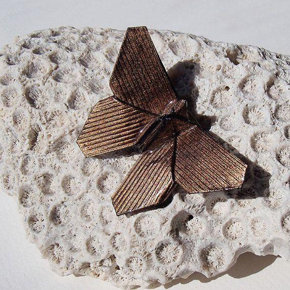 brooch copper Origami Butterfly-broche papillon en by OrijujuShop