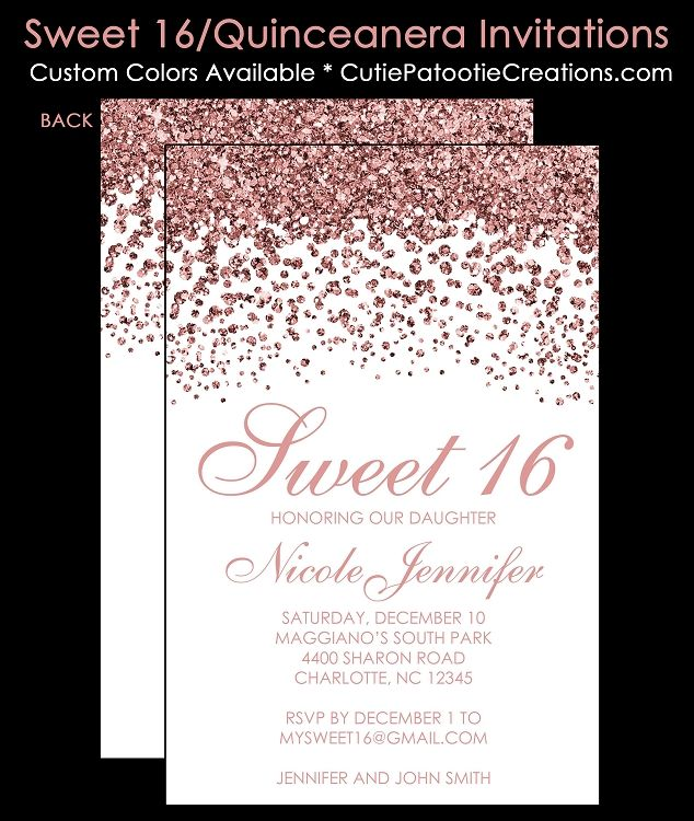 Modern Rose Gold FAUX Glitter Sweet 16 Birthday Invitations Quinceanera Invitation 15 Party By Cutie Patootie Creations