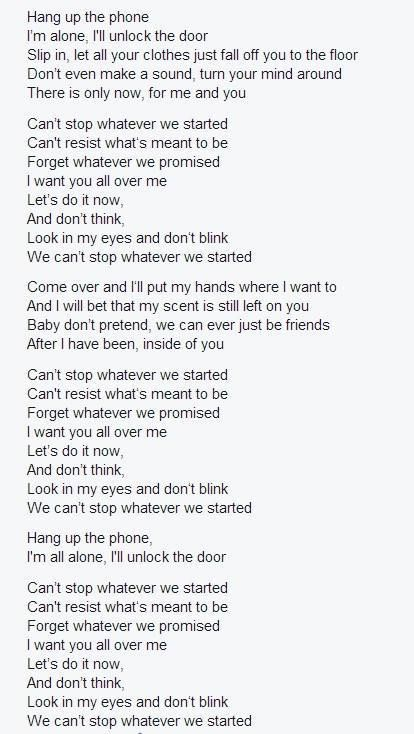 """Lyrics """"Can't Stop Whatever We Started"""""""