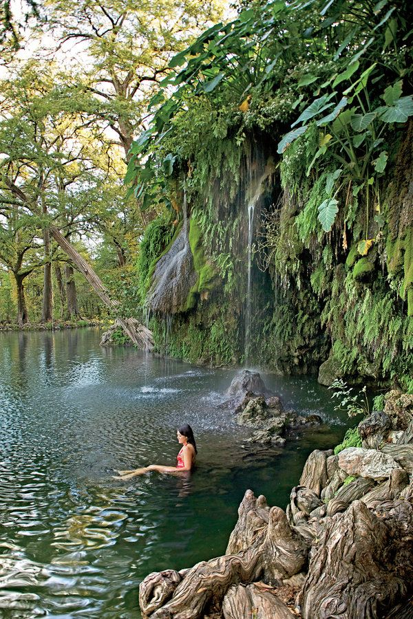 You have so many choices if you want to take a dip—from the more widely known Blue Hole in Wimberley to Hamilton Pool, a massive crater created when the dome over an underground river caved in, outside the town of Bee Cave. But the lushest, and least crowded, swimming spot is at Krause Springs($7cash only) in Spicewood. The privately owned, 115-acre park features 32 springs, several of which burble through a man-made pool then tumble over a fern-lined cliff into a deep hole. The brave can…
