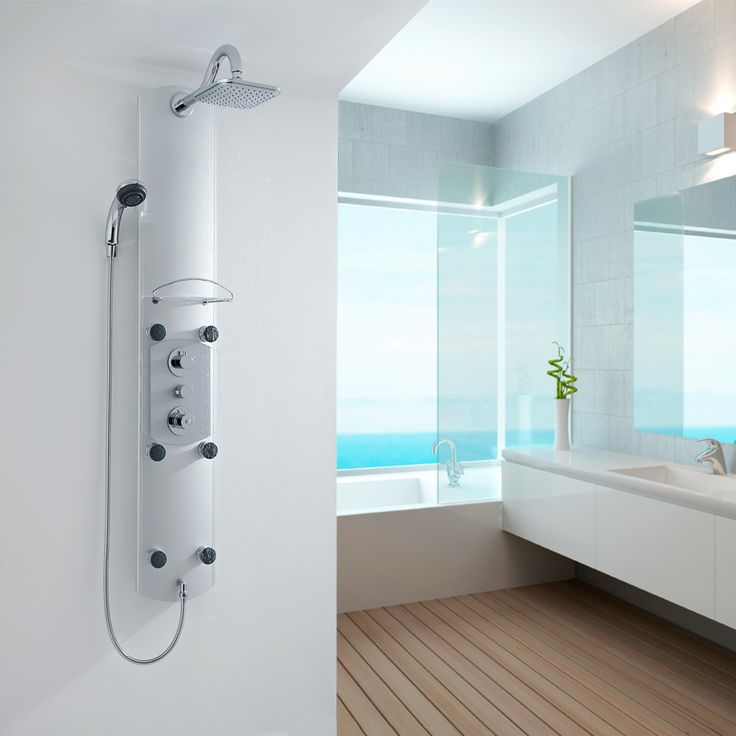 Thermostatic Aluminium Shower Panel with 6 Body Jets