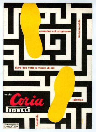 """Bruno Munari, Advertisement for """"Coria"""" soles, 1953"""