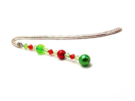 Beaded metal bookmark with green and red beads by FfigysDesigns #Cavetsy #Etsy #Handmade #Bookmark