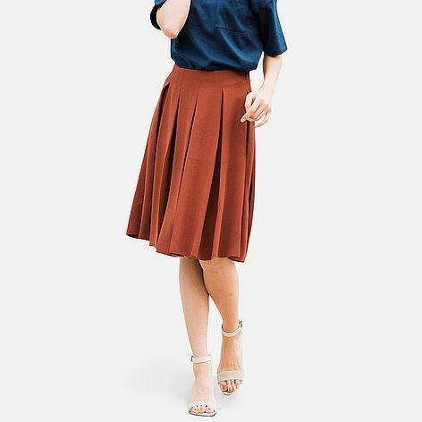 WOMEN Crepe Tucked Skirt (5 colours)