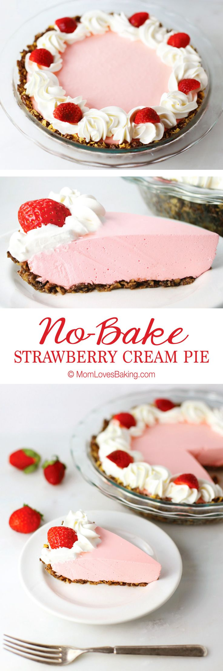 No-Bake Strawberry Cream Pie - light and airy with a delightful crust made of Honey Bunches of Oats Chocolate. Easy to make and it's gluten free! #HBOChocGF [ad]