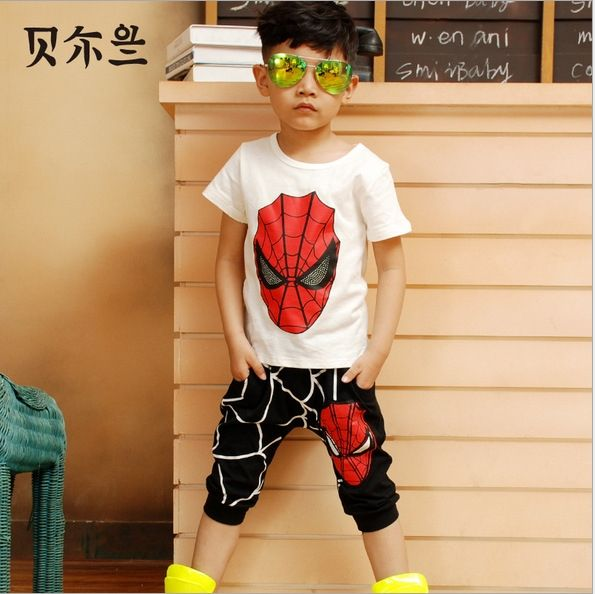 Spiderman Baby Boys Kid SportsWear Tracksuit Outfit cartoon Suit Summer kids boys clothes clothing set