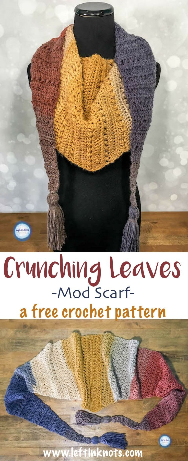 The Crunching Leaves Mod Scarf: FREE #crochet pattern features all the best warm fall tones with just one cake of Lion Brand Mandala yarn!  This trendy triangle scarf will keep you warm all fall and winter long.  Read more for the free modern crochet pattern.  Special stitch descriptions make this pattern easy - even for beginners!