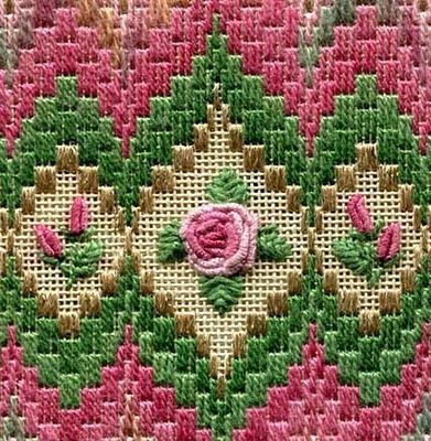 Laura Perin charted needlepoint, bargello & roses