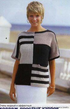 Спицы.Пуловер с широкими полосами