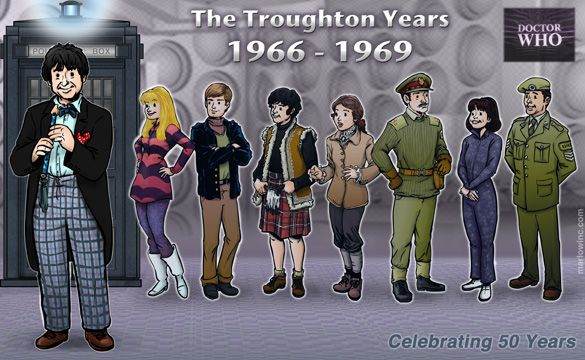 The Second Doctor and his Companions - Polly, Ben, Jamie, Victoria, Alistair (the Brigadier), Zoe, & John!