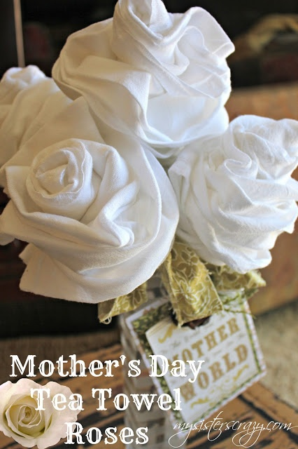 TEA TOWEL FLOWERS FOR MOTHERS DAY