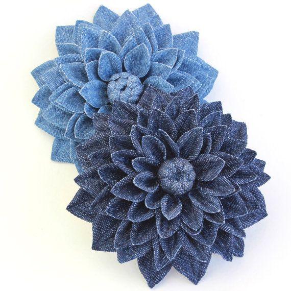 Denim jewelry cotton flower denim flower by PresentPerfectStudio