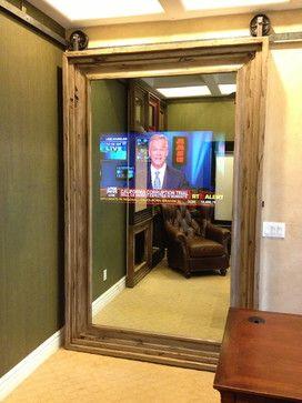 "Custom Barn Doors - modern - interior doors - phoenix - Massiv Brand The mirror is really two way glass with a 46"" TV ""hidden"" behind it!"