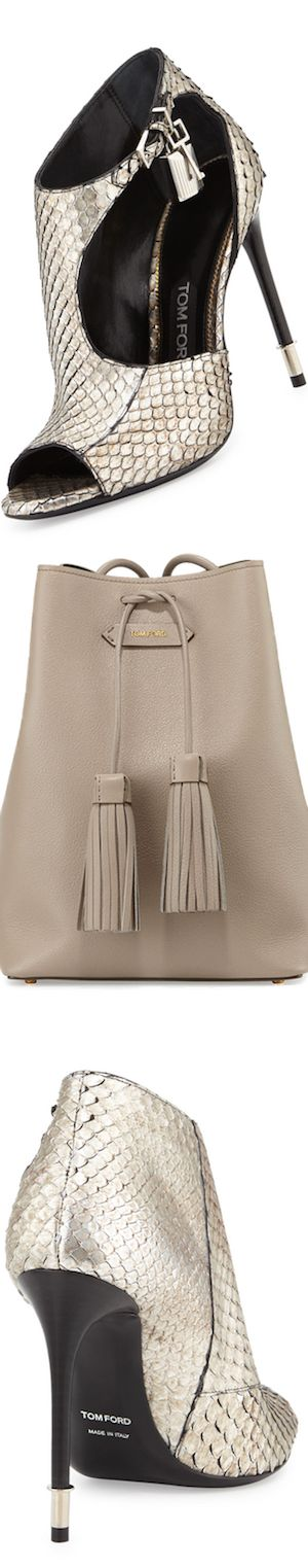 TOM FORD Anaconda Cutout Padlock Bootie, Antique Silver and Leather Double-Tassel Medium Bucket Bag