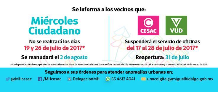 Suspensión de servicio en oficinas en la delegación Miguel Hidalgo