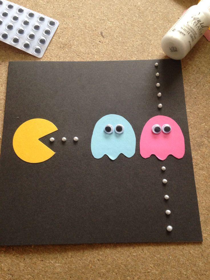 Pac-man Retro Game Handmade Birthday Card 1980s