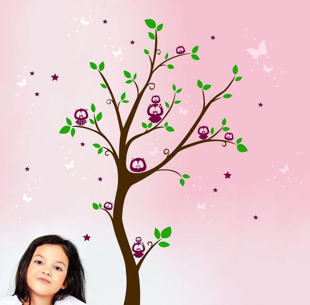 Good Wandtattoo Eulenbaum Eulen Baum mehrfarbig M