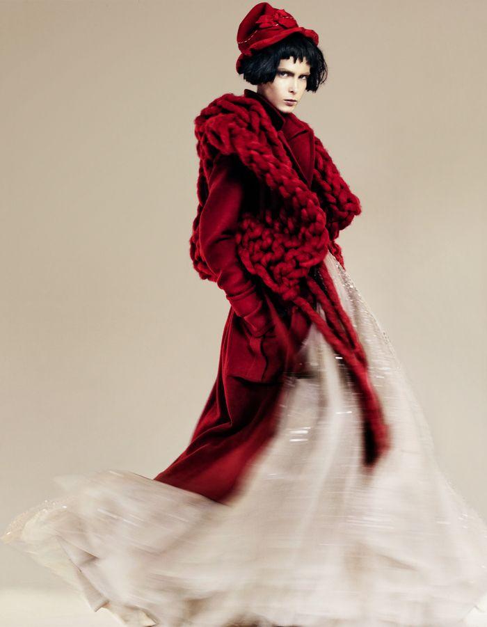Giant-knit wool tunic by Maison Martin Margiela. Lambswool coat by Sonia Rykiel 2010