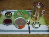 Balanced Breakfast - Calories and calcium in Ragi poridge, protein in egg, Iron in Pomegranate, Vitamin C in Indian goose berry, Vitamins & Minarals in sprouts , Breakfast in Chennai - The Hindu Shutterbug