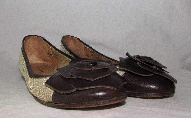 Taryn Rose Glitter Flat Ballet Shoes Leather Flower Bow sz 7.5 USA - 38 Euro…
